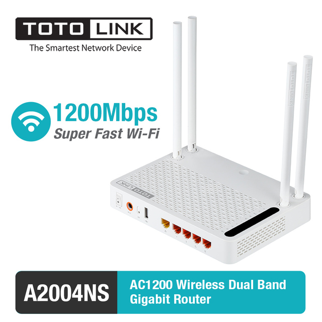 TOTOLINK A2004NS AC1200 Gigabit WiFi Router with Wireless repeater, AP in One,  in English and Russia Language
