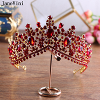 JaneVini Elegant Red Tiara and Crown Rhinestone Headband Crystal Queen Wedding Crown for Women Hair Jewelry Bridal Accessories