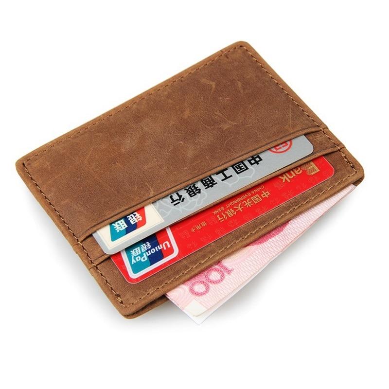 JMD Genuine Leather Slim Card Holder Brand Designer Men Women Vintage ID Card Credit Card Organizer Small Thin Purse Mini Wallet