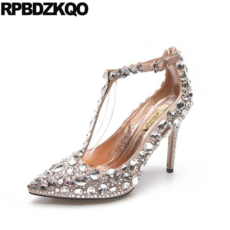 Ankle Strap Thin Crystal Size 4 34 Rhinestone High Quality Designer Shoes Heels T 2017 Wedding Satin Women Silk Pointed Toe luxury red satin high heel pumps pointed toe crystal ankle strap wedding dress shoes thin heels cut out rhinestone sandals