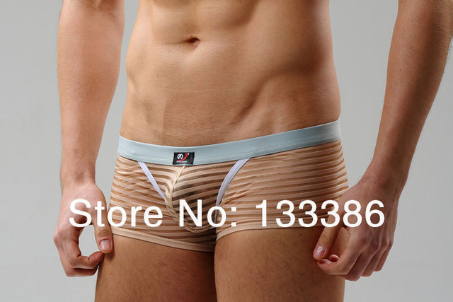 U bags low-waist sexy transparent stripe male boxer pantie butt-lifting male gay fresh mens underwear boxers men's underpants