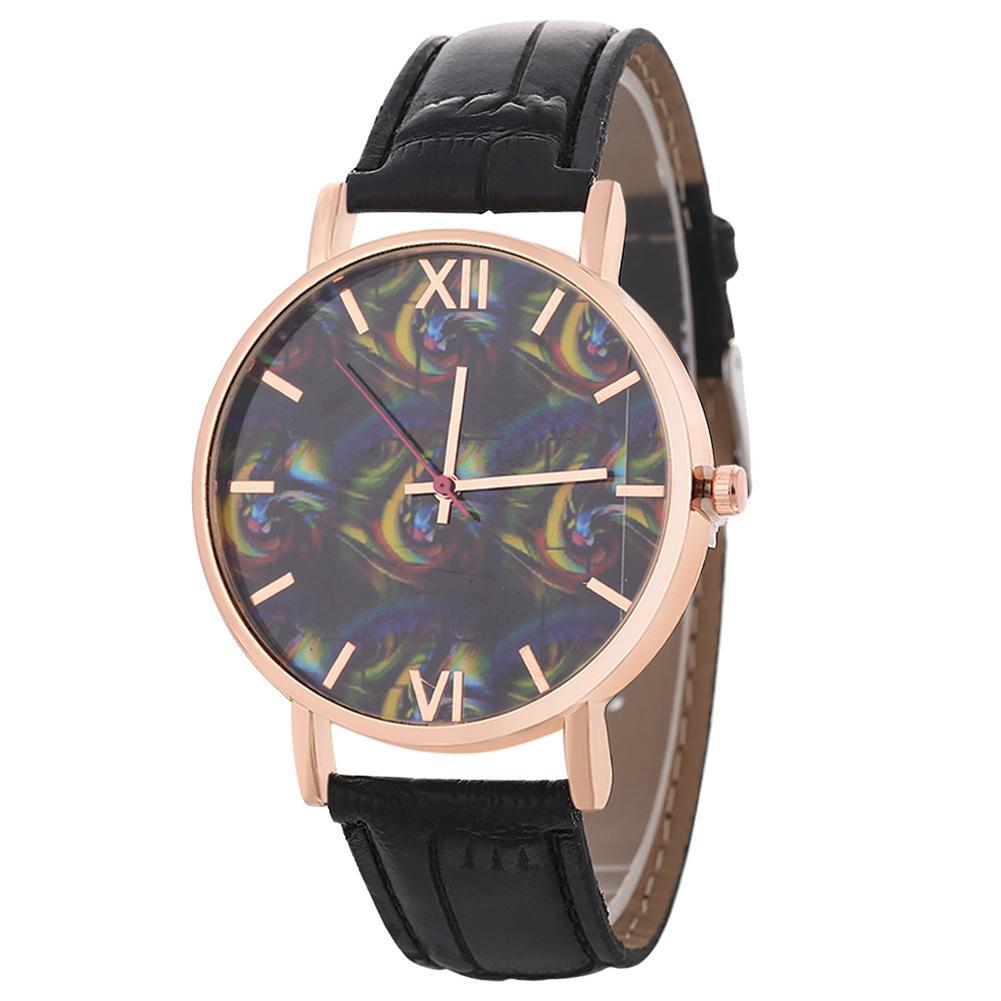 Unisex Couples Fashion Round Dial Faux Leather Strap Analog Quartz Wrist Watch Wholesale
