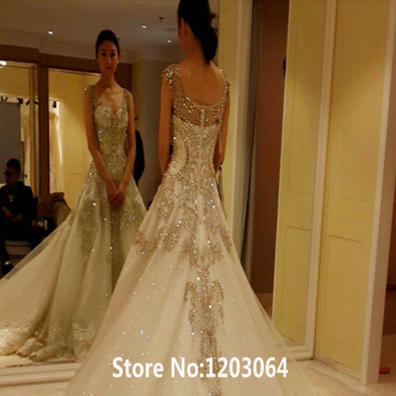 6433a835d 2016 New Fashion Sweetheart White Tulle Royal Train Luxury Crystal Princess Wedding  Dress Hot sale Beading And Appliques Vestido-in Wedding Dresses from ...