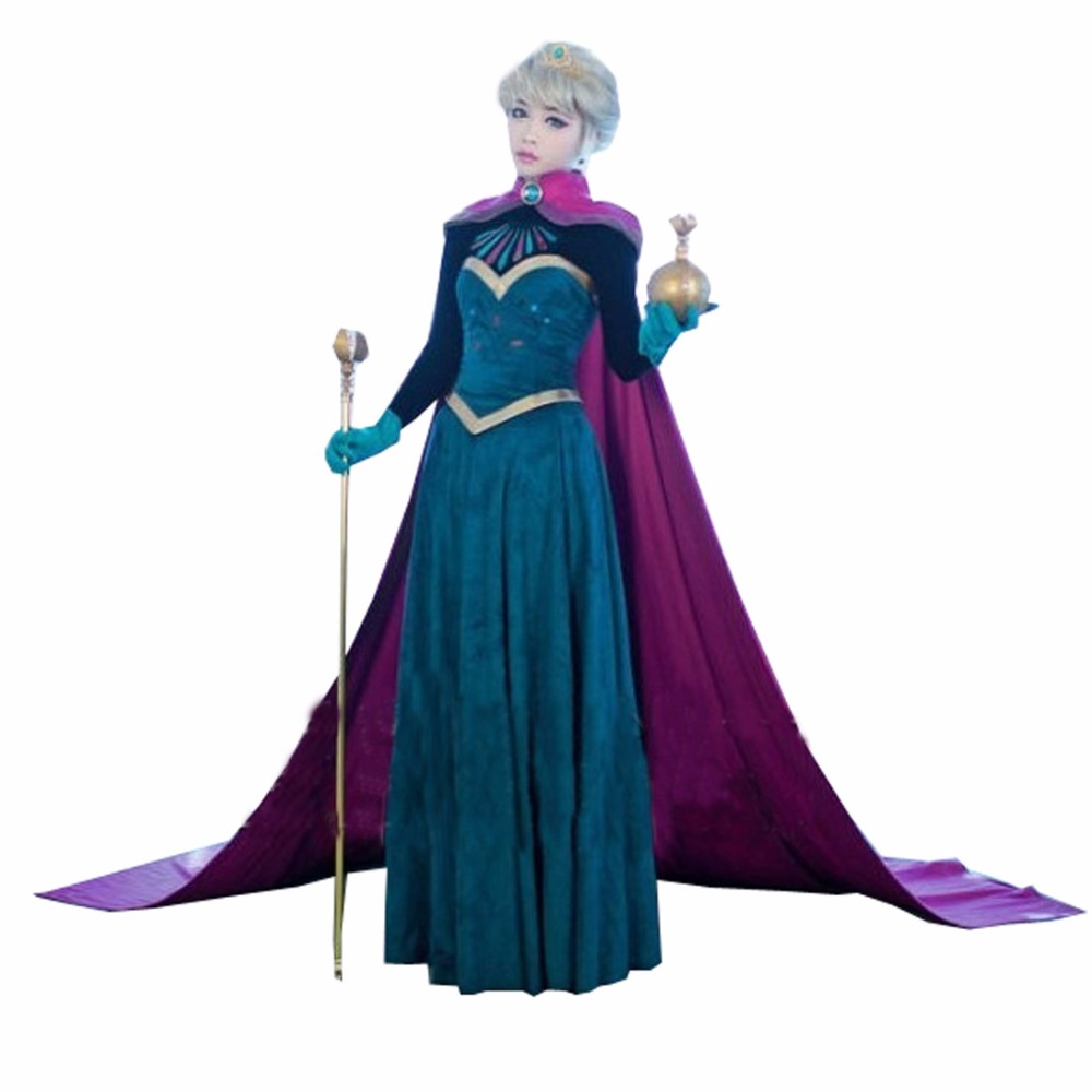 2017 Snow Queen Elsa Costume Custom For Adults Princess Dress Cosplay Costume (No Wig No Tool)