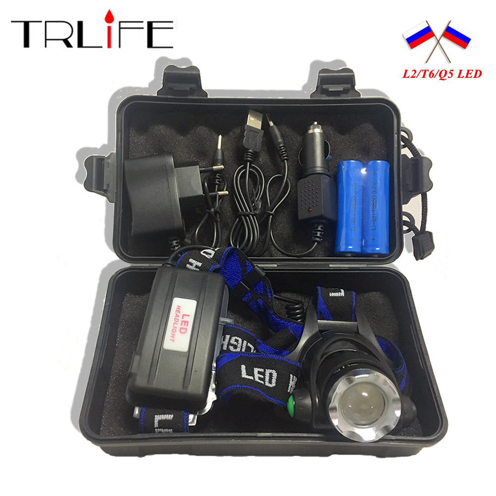 10000LM V6 L2 LED HeadLight Headlamp Lampu Zoomable Light 3 Mode Upgrade Head Light + AC / Charger mobil + 2 * 18650 Baterai