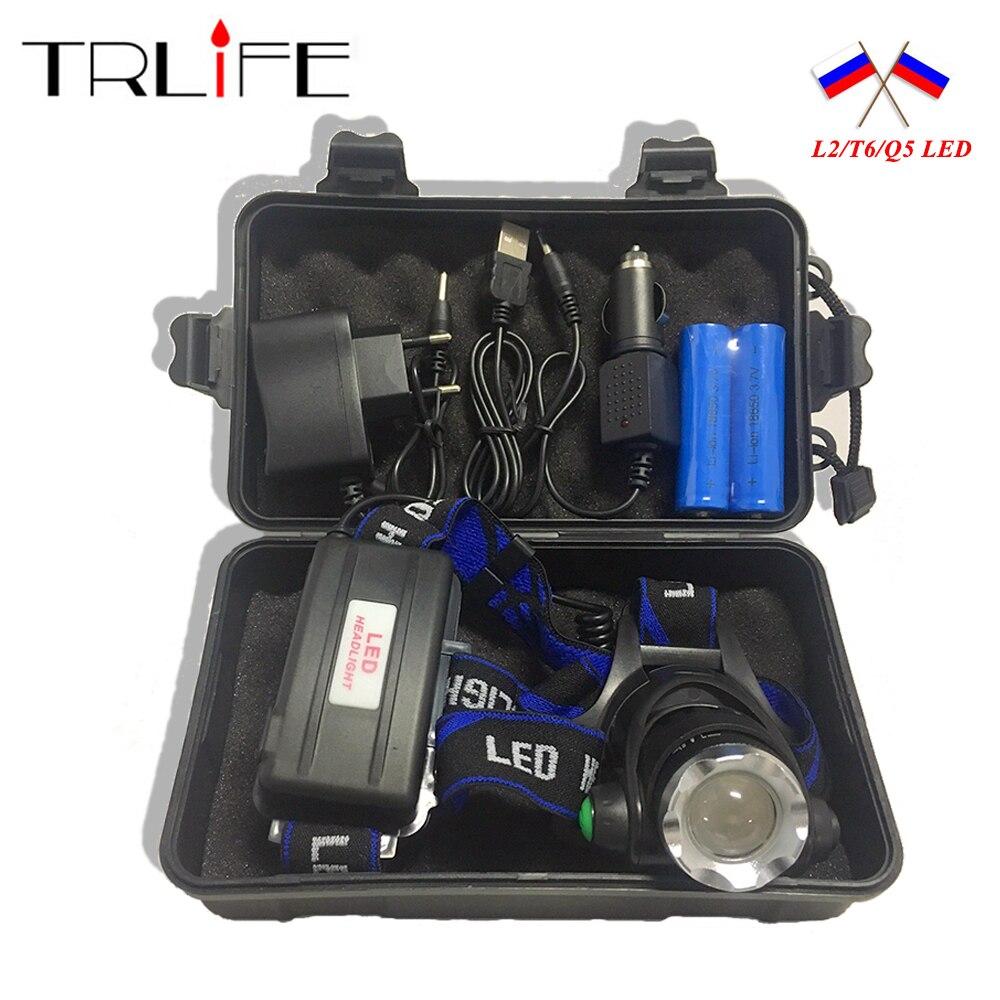 10000LM V6 L2 LED faro de luz Zoomable linterna luz 3 modo de actualización de la luz de la cabeza + AC/cargador de coche + 2*18650 batería