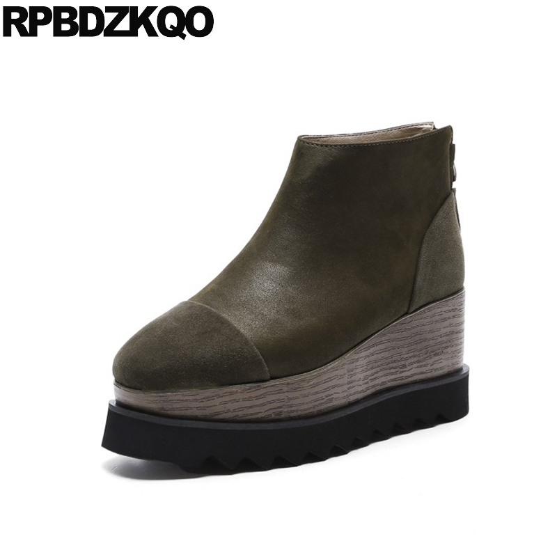 Booties Creepers Wedge Ankle Platform Green Boots High Heel Big Size Suede Square Toe Sheepskin Designer Shoes Women Luxury 2017