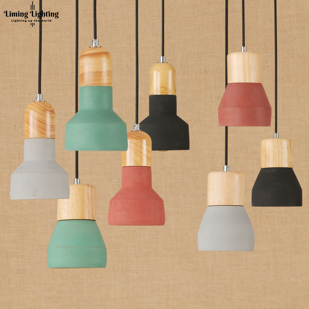 Modern Wooden Wood Colorful Concrete Handmade Cement Hanging Pendant Lamp LED Light Lighting Fixture Restaurant Bedroom Home brass half round ball shade pendant light led vintage copper wooden lighting fixture brass wood fabric wire pendant lamp