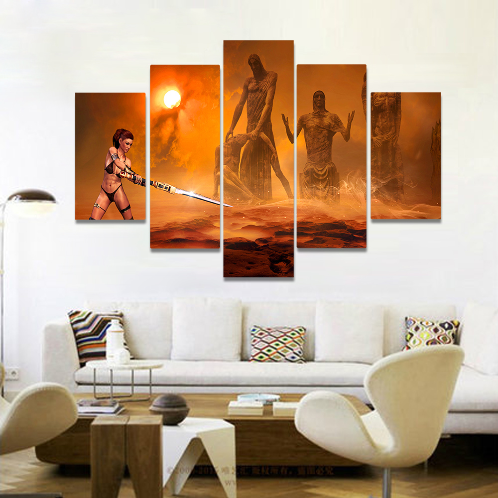 Unframed Canvas Art Painting Female Warrior Huge Figure Statue Picture Prints Wall Picture For Living Room Wall Art Decoration