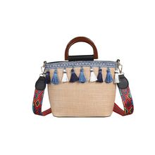 2019 New Unique Straw Rattan Handbag Tassel Woven Shoulder Bag Simple Beach Tote Bag Handbag for Women Ladies Summer Use Supply недорого