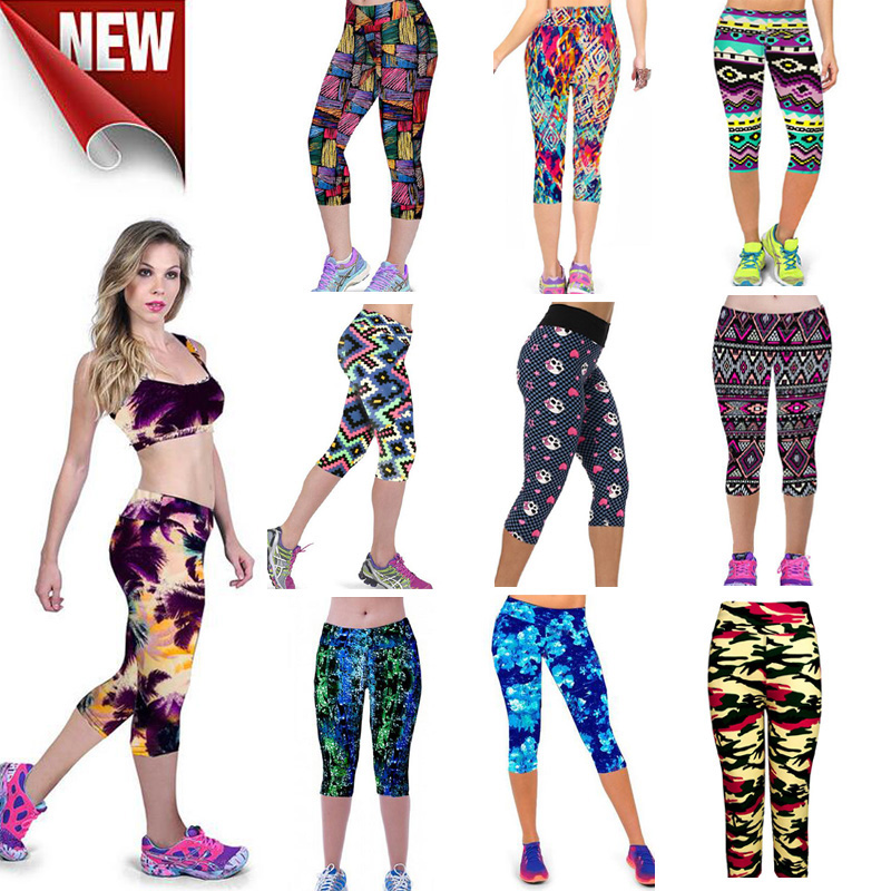 Women high quality capris high waisted floral printing for Lady fitness