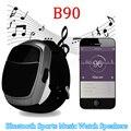 B90 relógio sport music speaker portátil mini speaker sem fio bluetooth tf slot de fm rádio chamada hands-free speaker subwoofers de áudio