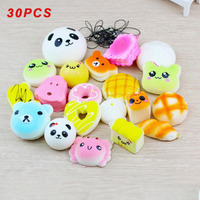 30 Pcs Soft Random Squishy Slow Rising Bread Cake Bun Pendant Donut Charm Toy Stretchy Squeeze