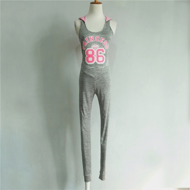 Sporting Hooded Letter Printed Light Gray Back Hollow Bodysuit