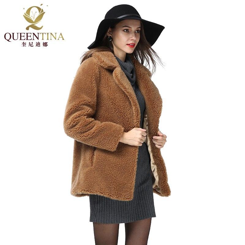Velours Épais Manteaux Peluche 2018 Vraie Femmes Brun Femelle Camel Femme Blazer D'agneau En D'hiver Veste 100 Laine Nouveau Fourrure 5xWcWfA