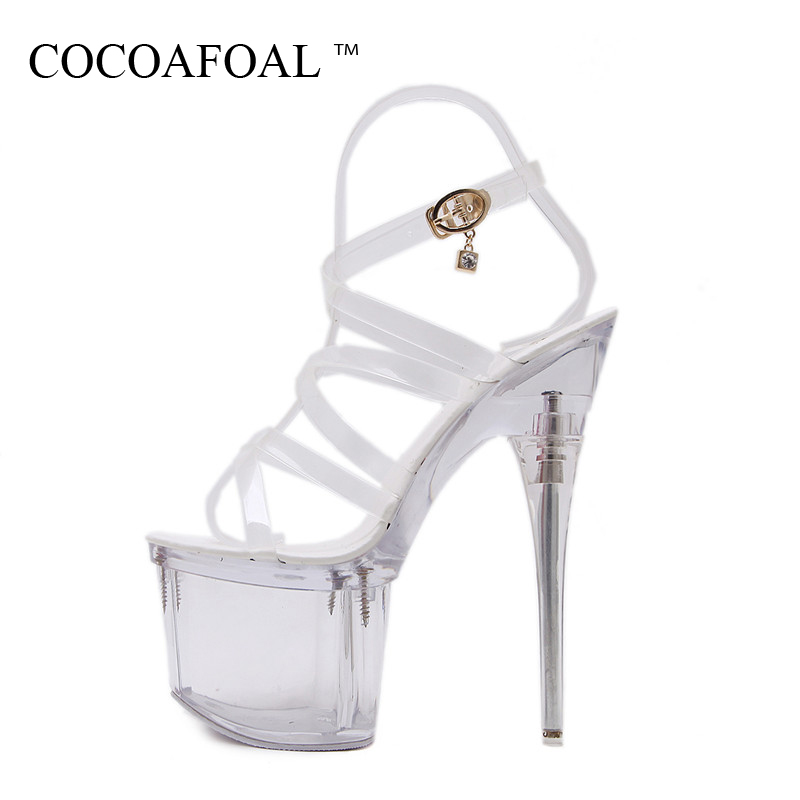 COCOAFOAL Women Transparent Heels Shoes Sexy White Pole Dance Gladiator Sandals Summer Peep Toe Extreme High Heels Shoes 2018