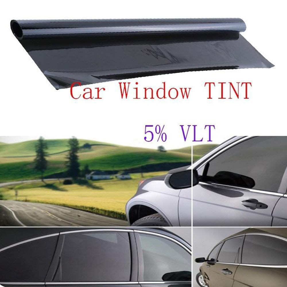 50 X 100cm Car Window Tint Glass Film Dark Black VLT 5% Sunshade Sticker Auto Window Foils Solar Protection Exterior Accessories