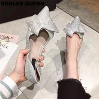 2019 Spring Autumn Flats Ballet Shoes Women Shallow Butterfly knot Ballerina Bling Sequined Cloth Party Wedding Shoe Rubber Sole
