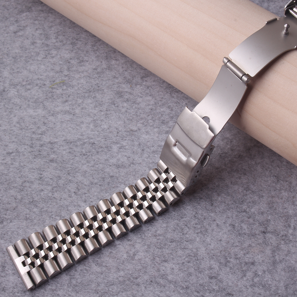 Watchbands new style Stainless Steel Watch Band 20mm 22mm 24mm for Luxury Watches Safety Clasp Strap Loop Belt Bracelet Silver silicone rubber watch band 20mm 22mm 24mm for jacques lemans stainless steel pin clasp strap wrist loop belt bracelet tool