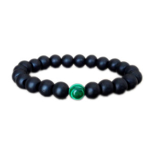 Image 1 - 12pcs/lot Mens shungite bracelet homme malachite energy bracelet healing bracelet meditation yoga good luck bracelet