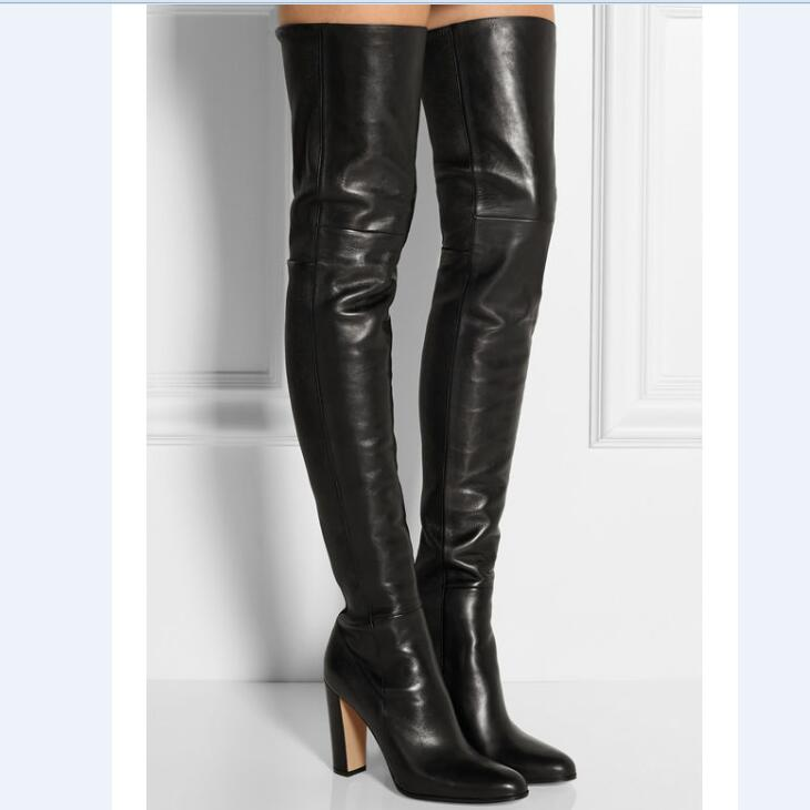 2017 Autumn Women Over the Knee Boots Wholesales HOT Retail Women Shoes High Heels Pointed Toes Black Solid Square Heel