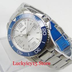 BLIGER 40mm samonakręcający męski zegarek srebrny kolor tarczy Auto data szafirowe szkło bransoleta ze stali nierdzewnej