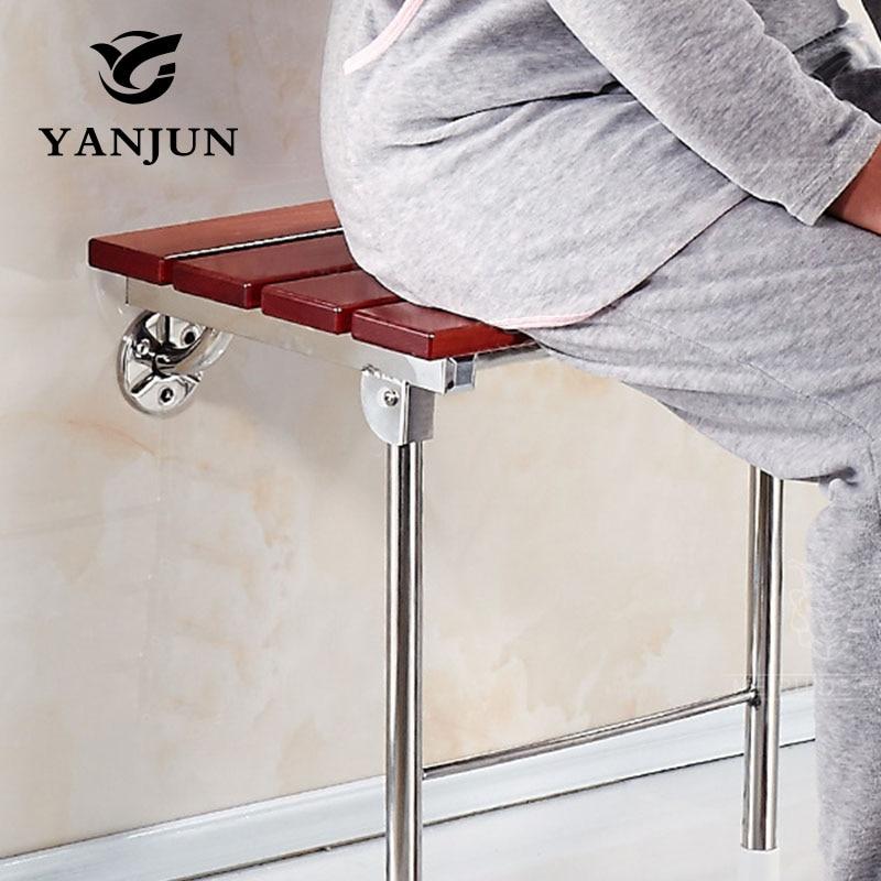 YANJUN Wood Folding Bath Shower Seat  Wall Mounted Relaxation Shower Chair Solid Seat Spa Bench Saving SpaceBathroom YJ-2058