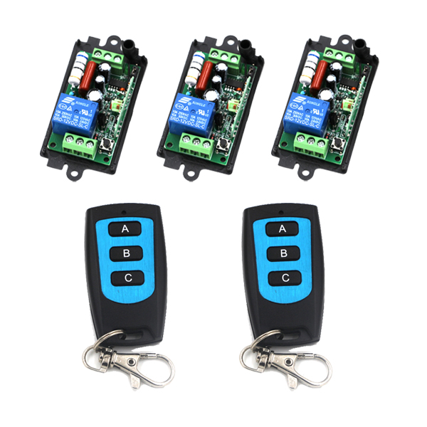 AC 110V 220V 10A 1CH RF Wireless Remote Control Switch System,315/433 MHZ 2*Waterproof Transmitters + 3*Receiver SKU: 5404 ac 220v 1channel 10a rf wireless remote control switch system 4 receiver