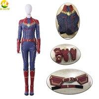 Movie Captain Marvel Cosplay Costume Carol Danvers Cosplay Vest Belt Gloves Bracers Custom Made Halloween Costumes For Women