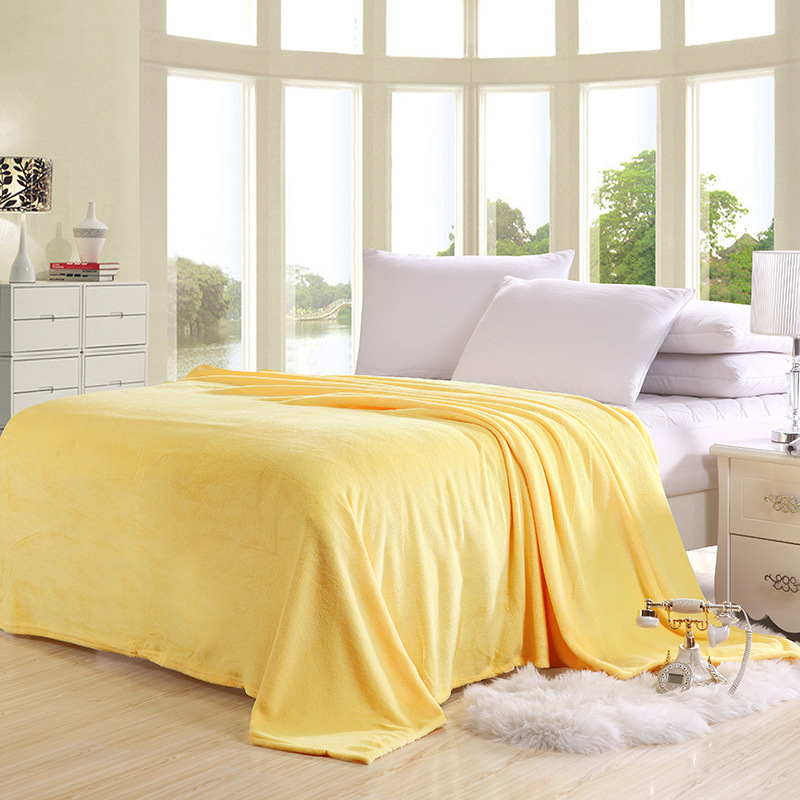 Image 2 - Super Soft Coral Fleece Blanket Solid Yellow Color Double Bed Twin Queen Size Plaid Furniture Cover Bedspread Coverlet Cobertor-in Blankets from Home & Garden