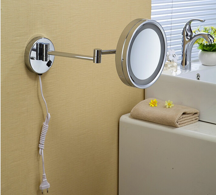 ФОТО Chrome Wall Mounted 8 inch Brass one side 3X Magnifying Mirror LED Light Folding Makeup Cosmetic Lady