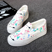 2016 new autumn women' canvas round toe casual slip-on loafers shoes lazy  graffiti cute sweet flats stuent drive shoes  08w0204