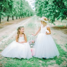 Long Ball Gowns For Girls Child Confirmation White Dress Flowergirl Kids Rustic Flower Girl Dresses For Weddings Party Children
