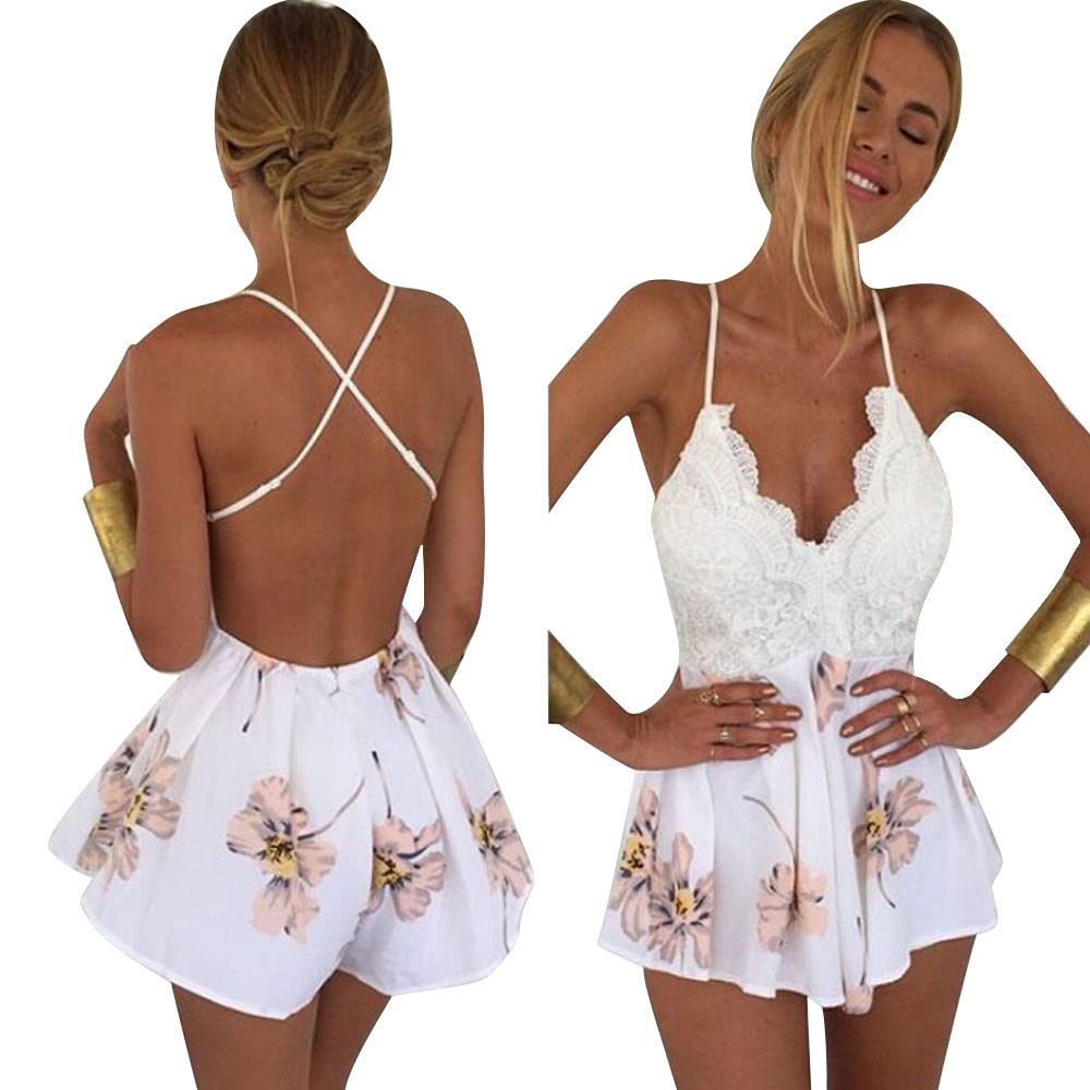 Boho Style Women Playsuits 2019 Summer Fashion Lace Floral Print V Neck Strap Sleeveless Backless   Jumpsuit   Rompers Femme Pants
