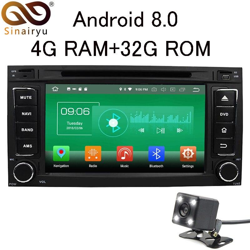 Sinairyu 4 г Оперативная память Android 8.0 автомобильный DVD для Volkswagen Touareg 2002-2010 VW Multivan 2008-2012 Радио GPS мультимедийный плеер головное устройство