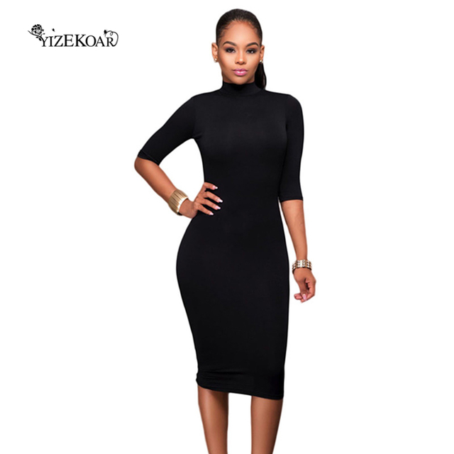 46832589f96 2018 Autumn Sexy Womens Bodycon Dresses Black Bodycon Mock Neck O-ring Cut  Out Half Sleeve Midi Dress Vestido Curto