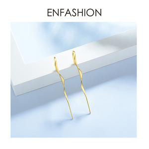 Image 3 - ENFASHION Punk Wave Simple Stud Earrings For Women Gold Color Statement Geometric Curve Earings Fashion Jewelry Oorbellen EC1070