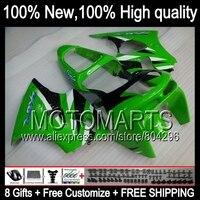 Bodys negro verde personalizado para Kawasaki Ninja ZX6R ZX-6R 98 99 ZX 6R 636 6 R C #601 carrocería ZX636 98 99 1998 1999 Kit de carenado