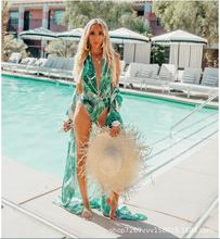 Summer Chiffon Semi-Sheer Maxi Kimono Green Tropical Banana Leaves Printed Bikini Cover Up 3/4 Sleeves Open Front Beachwear