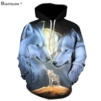 BIANYILONG Hoodies Sweatshirts Women Men 3D Printed Wolf Hoodies Fashion Pullover Male Tracksuit Pocket Jacket Hooded