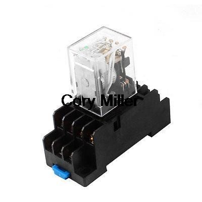 Подробнее о HH54PL DC 12V Coil 4PDT 35mm DIN Rail Electromagnetic Power Relay w Socket Base free shipping dc 12v coils dp2t 8 terminals motor control electromagnetic power relay w socket