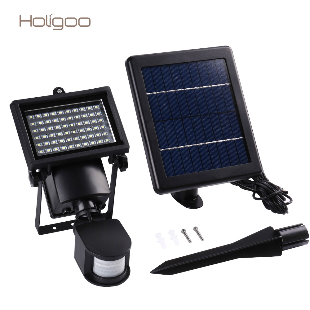 Holigoo Super Bright 60 LED Solar Lamp Waterproof Solar Light PIR Motion Door Wall Light Outdoor Wall Lamp Security Spot Light
