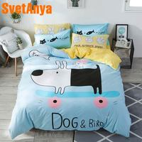 Svetanya Cotton Bedding Set Dog and Bird Bedlinen (sheet pillowcase Blanket Cover Sets) for Kids Adults