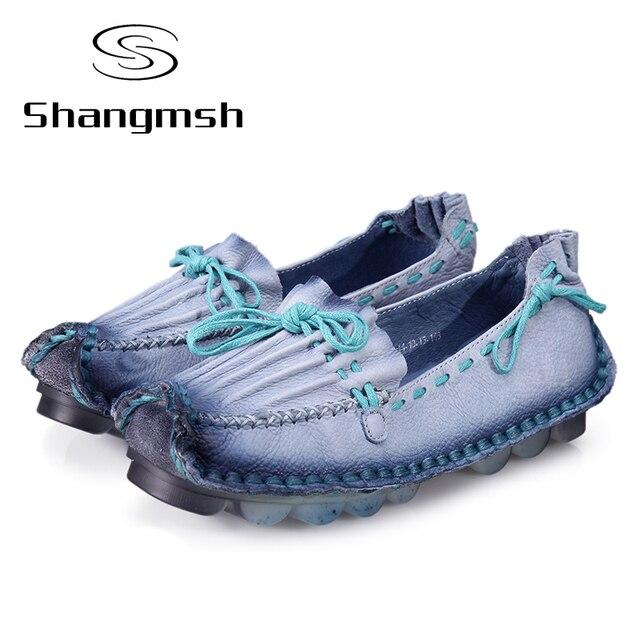 Женщины Обувь Из Натуральной Кожи Плоским Ручной Подошва Удобные Ботинки Женщин Квартиры Мягкие Одиночные Обувь Твердые Женщины Мокасины
