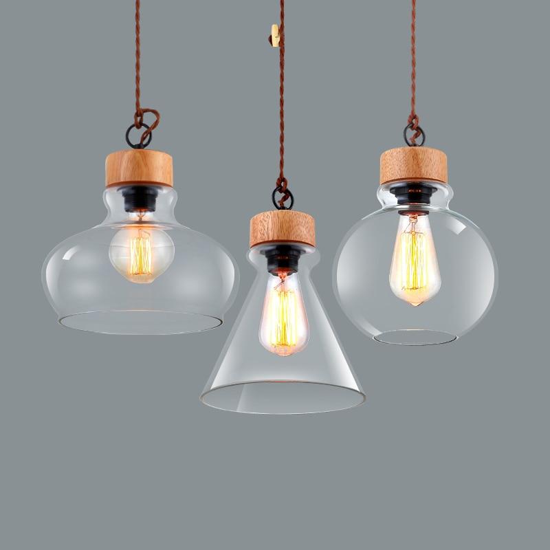 Modern Wooden Pattern DIY Hanging Lamp Light Single Head E27 Elegant Glass  Lampshade Pendant Lights Restaurant