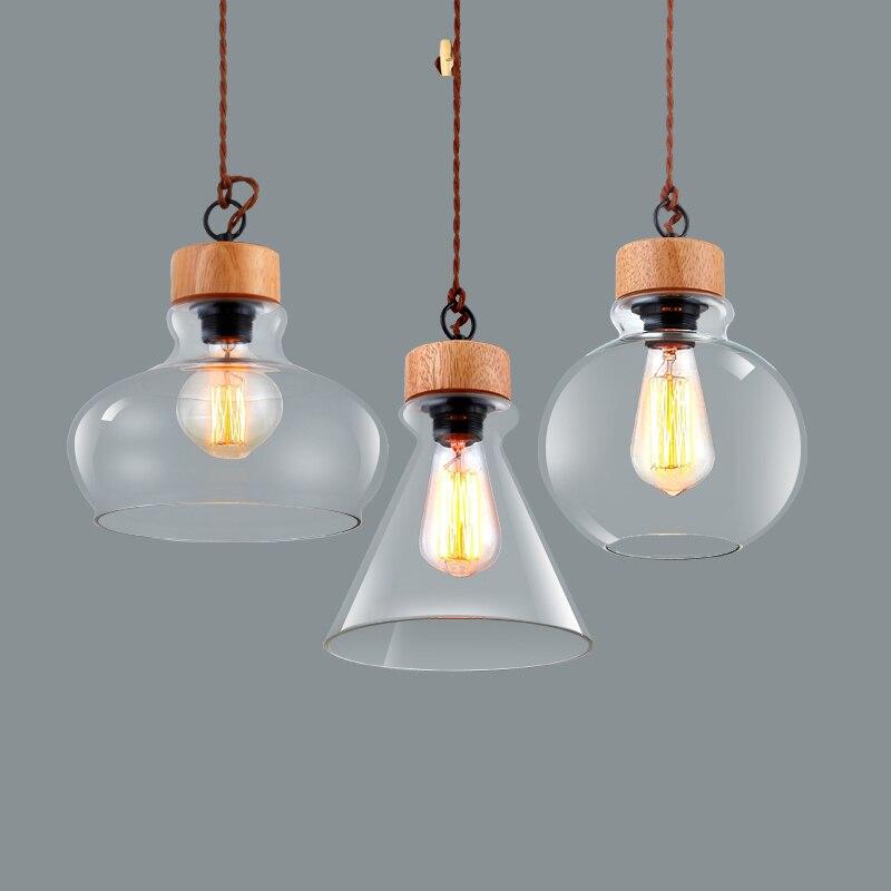 Moderne en bois modèle bricolage lampe suspendue lumière unique tête E27 élégant abat-jour en verre pendentif lumières Restaurant éclairage PL533