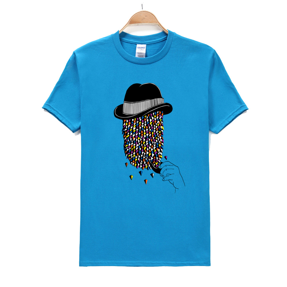 Men's Beard Art Colorful and Pipe Print T-Shirt Summer Hipster T shirt Men Summer White Short Sleeve O Neck Tees XL XXL Cotton