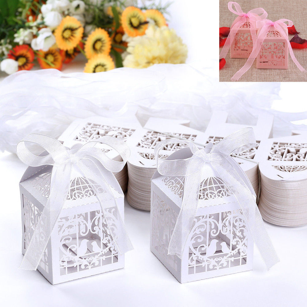 White Lace Bowknot Candy Storage Box Hot 50 PCS Love Bird Boxes For ...