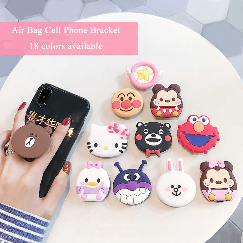 Cute Mickey Minnie Universal Airbag Phone Expanding Stand Hello Kitty Finger  Holder Cartoon Mobile Bracket Cellphone 8fb851eef196