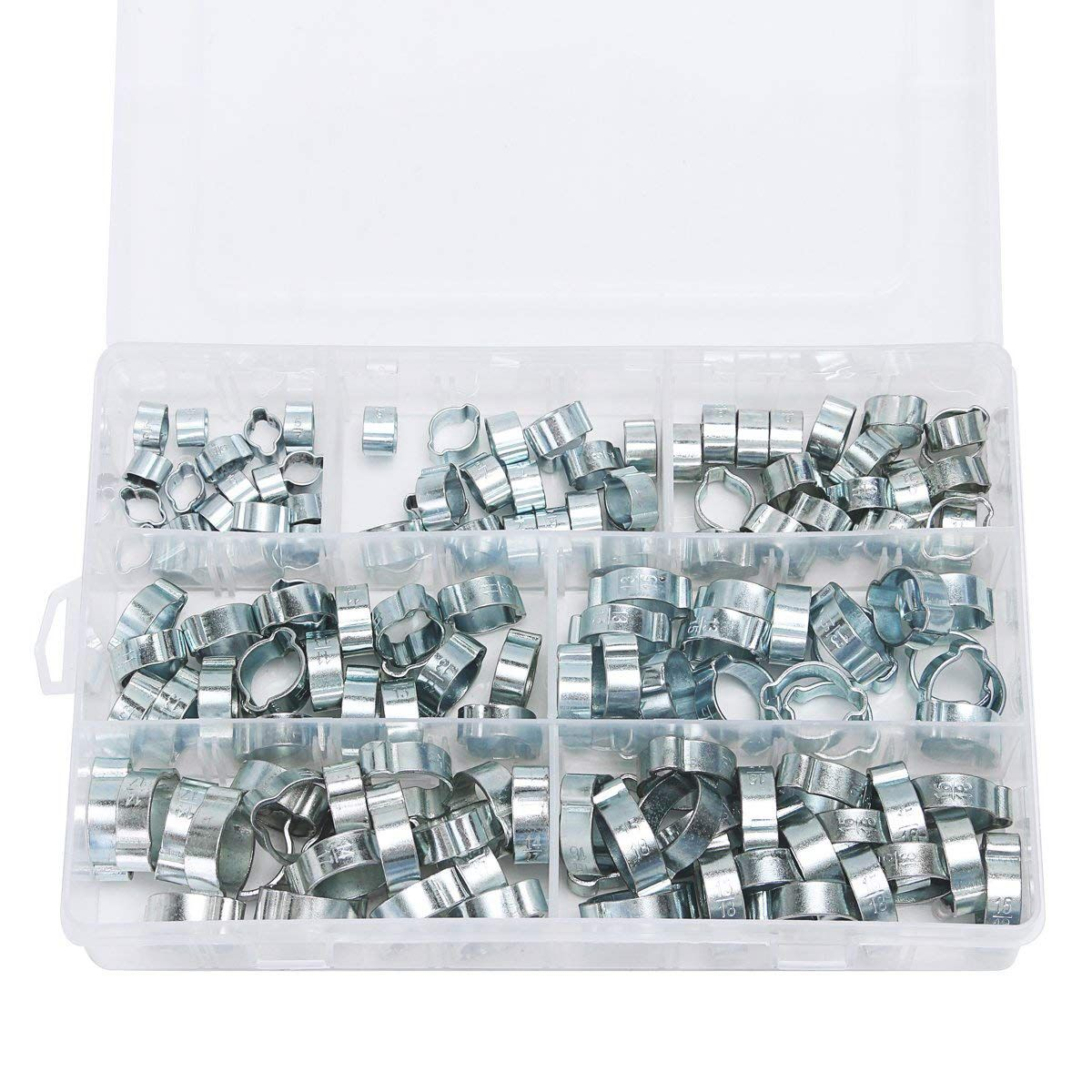 Double Ear O Clips 140 Pcs Multi Size Clamps Mild Steel Zinc Plated double ear clamps Assortment For Hydraulic Hose Fuel silver ac12 4 stainless steel hose hoops clamps set silver 12 pcs